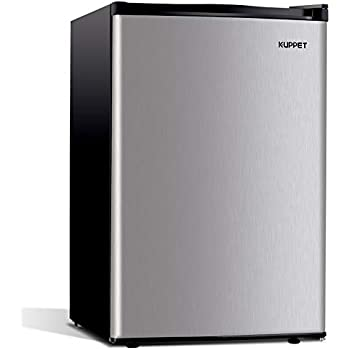 Kuppet-Mini Refrigerator Compact Refrigerator-Small Drink Food Storage Machine for Dorm, Garage, Camper, Basement or Office, Single Door Mini Fridge, 4.5 Cu.Ft,stainless steel