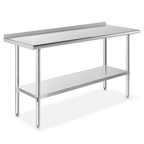 GRIDMANN NSF Stainless Steel Commercial Kitchen Prep & Work Table w/ Backsplash - 60 in. x 24 in. (Bench Steel Outdoor)