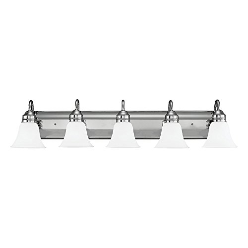 - Sea Gull Lighting 44854-05 Gladstone Five-Light Bath or Wall Light Fixture with Satin Etched Glass Shades, Chrome Finish
