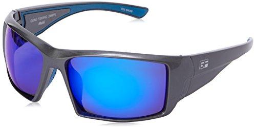 Gone Fishing Men's Mahi Polarized Iridium Wrap Sunglasses, Shiny Dark Pearl Grey, 61 mm