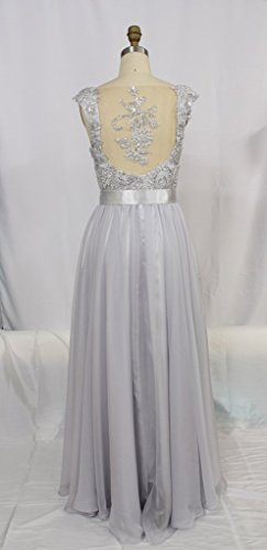 Gown Long Silver Party Drasawee Evening Chiffon Women's Bridesmaid Prom Dress 5TqqwRXy