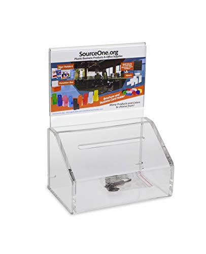 Source One 2 Pack, Small Clear Donation Charity Ballot Box with Lock and Sign Holder (SLPD -100)