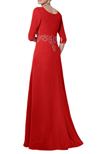Victory Bridal Rot Elegant Chiffon Lang Aermel Abendkleider Ballkleider Fuer Brautmutter Lang mit Schleppe