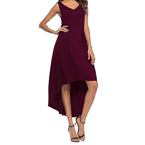 YANG-YI 2019 Hot Style! Summer Sleeveless Dress Womens Solid V-Neck Strapless Slim Dress Wine