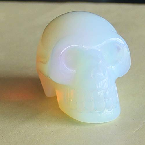 1.6'' Hand Carved White opalite Skull Figurine Carving