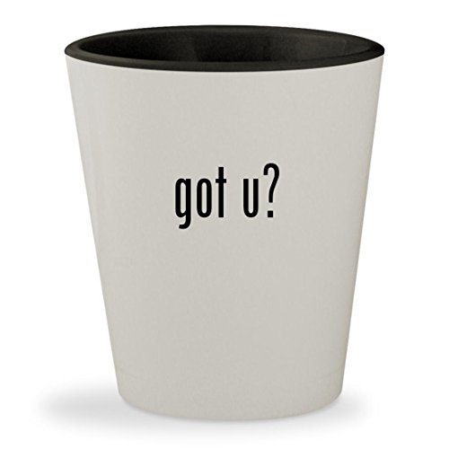 got u? - White Outer & Black Inner Ceramic 1.5oz Shot Glass