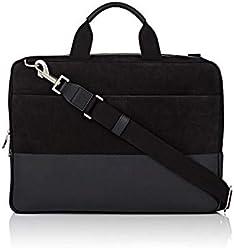 Jack Spade Leather Dipped Nubuck Slim Laptop Briefcase Black