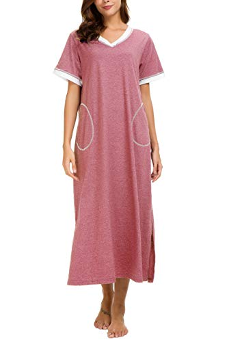 AVIIER Long Nightgown Womens Lounge Dresses with Pockets V Neck Short Sleeve Maxi Nightshirt Sleepwear (L, Red)