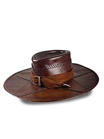 df6492cbd49 Amazon.com  Leather Witch Hunter Hat LARP Costume Cap Brpwn Large  Clothing