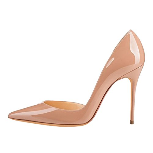 Jushee High Heels for Women Pumps Pointed Toe Patent Suede Court Shoes Stiletto 10cm 4 inch Nude xTmFieK