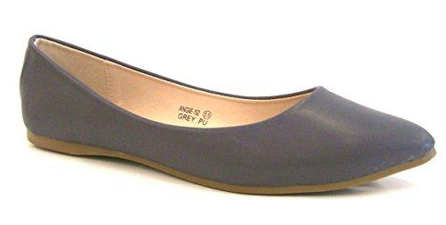 Bella Marie Kvinna Klassiska Spetsiga Tå Balett Slip På Flats-skor Grå Pu