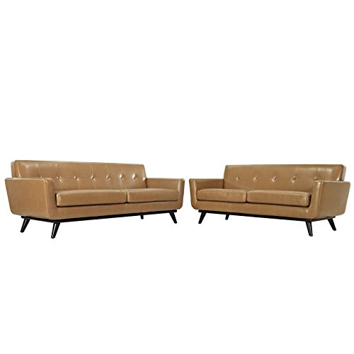 Modway Engage Mid-Century Modern Upholstered Leather Sofa and Loveseat Living Room Set In Tan
