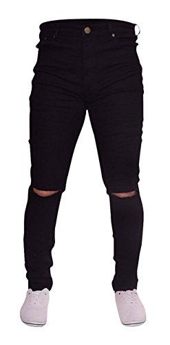 Newfacelook Mens Jeans Ripped Fashion Denim Jeans Pants Black F0010 W34 L34