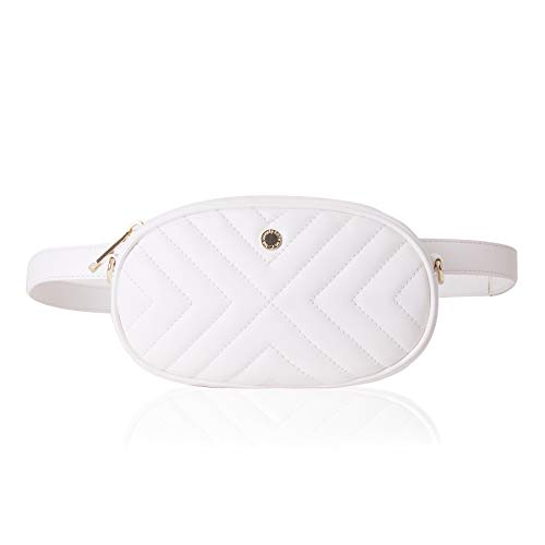 2-way Waist Bags for Women Fanny Pack Small Travel Bag Quilting Crossbody Bag Waist Pack(One, White (diagonal line))