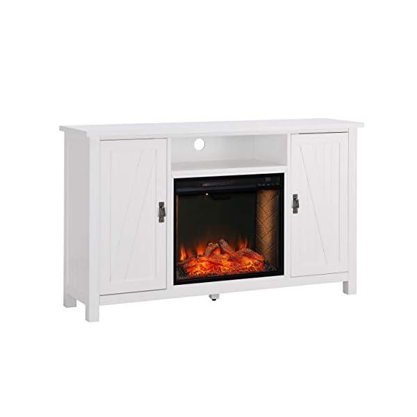 Furniture HotSpot Adderley Smart White Media Fireplace w/Storage