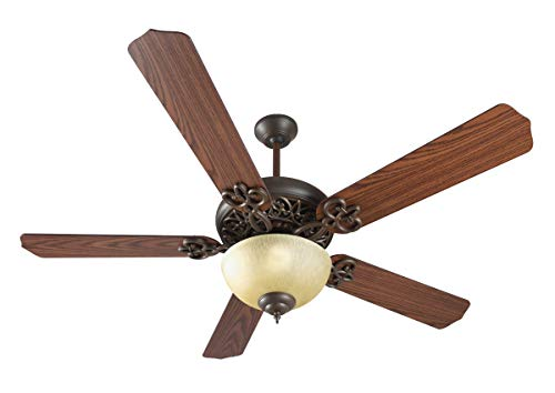 Indoor Ceiling Fans 2 Light Fixture with Aged Bronze Textured Finish Medium Bulb 22