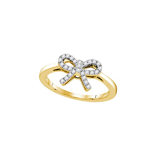 - Dazzlingrock Collection 10kt Yellow Gold Womens Round Diamond Ribbon Bow Knot Ring 1/6 Cttw