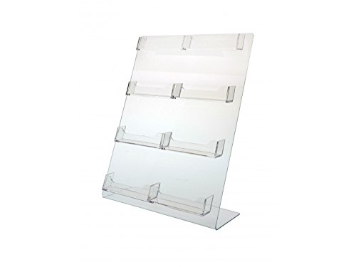 Horizontal Multi Card Holder - Marketing Holders Clear Acrylic Multi Pocket Horizontal Business Card Holder Display Stand with Sign Holder for Office, Retail, Desk, Counter (Clear, 8 Pocket Slant Back)