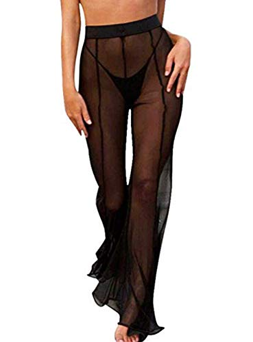 (Mesh Swimsuit Cover Up Pant for Women See Through Bikini Bathing Suit Sheer Coverup Sexy Beach Swimwear Black M)