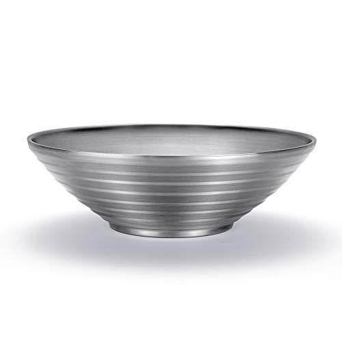 Qualizon 18/8 Stainless Steel Double Layer Noodle Bowl,Multipurpose Hot Insulated Serving Bowl for Salad/Soup/Pasta (10.2INCH 72OZ)