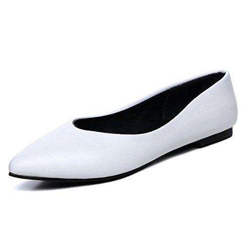COOLCEPT Mujer Moda Plano Zapatos Comodo Chicas Colegio Ballet Bombas Zapatos Extra Tamano Blanco