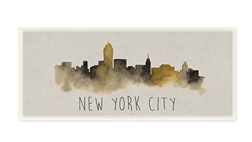 Stupell Home Décor New York City Skyline Silhouette Wall Plaque Art, 7 x 0.5 x 17, Proudly Made in USA by The Stupell Home Decor Collection