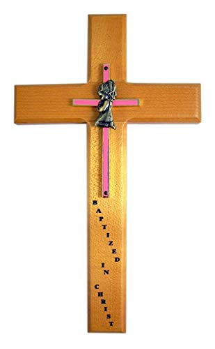 Pink Girls Baptismal Wall Cross 10 Inch