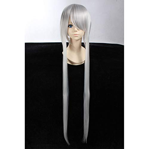 HOOLAZA Silver White Long Layered Wig Kung Fu Panda 2 Lord Shen for the Halloween Party Cosplay Wigs]()