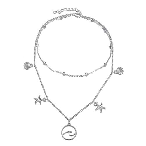 CanB Layered Disc Choker Necklace Wave Hollowed Star Pendant Necklace Jewelry for Women and Girls (Silver)