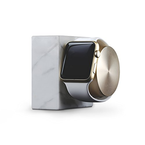 Native Union DOCK for Apple Watch (Luxury Tech) - Marble Weighted Charging Dock for Apple Watch (White) by Native Union