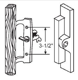 Sliding Glass Door Metal Handle, Non-Keyed, Surface Mount, Hook Style, 3-1/2