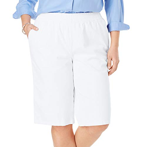 Woman Within Women's Plus Size Elastic-Waist Chino Bermuda Short - White, 20 W