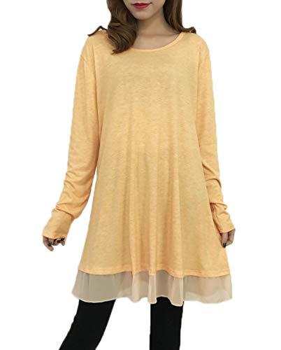 de Mini Largo Tees Casual Mujer Camisetas Tops Blouses Túnicas Blusa Jumpers y Costura Shirt Remata T Primavera Redondo Manga Vestido Tul Otoño Moda Larga Cuello qXgBtwEzn