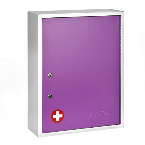 - AdirMed Large Dual-Lock Medicine Cabinet - Wall Mounted & Secure Steel Medicine Pills & First Aid Kit & Emeergency Kit Box with Locks for Home Office & School Use (Purple)