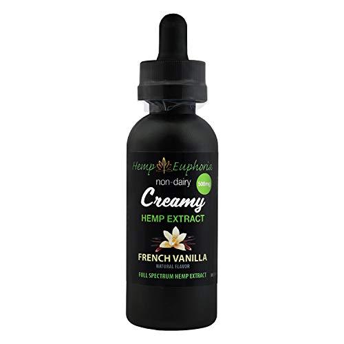 - 99% Pure CO2 Creamy French Vanilla Hemp Extract - 2 fl oz 500mg Hemp Oil Drop Alternative, Non-Dairy & Delicious, May Provide Relief from Stress, Insomnia, Pain, Anxiety & More by Hemp Euphoria