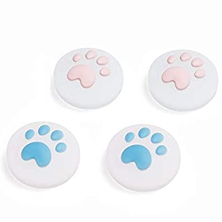 LeyuSmart Upgrade Transparent Cat Paw Thumb Grip, Clear Silicone Materials Joystick Cap for Nintendo Switch & Lite, Soft Cover for Joy-Con Controller Thumbstick(Pink&Blue)