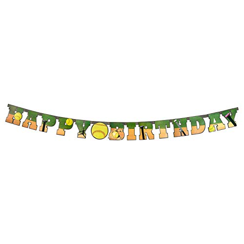 Softball Happy Birthday Banner (Large, 7 Cardboard Cutout letters, Softball Party decoration) Girls Fastpitch Softball Extra Innings Collecion by Havercamp