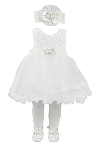 Taffy Baby Girl Christening Baptism Embroidered Dress Gown 6 Piece Deluxe Set 0-3 Months White