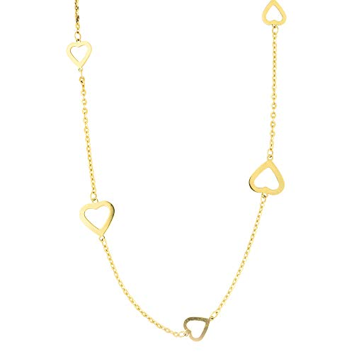 Open Oval Link Necklace - 14k Yellow Gold Diamond Cut Oval Link Chain Open Heart Station Necklace, 36