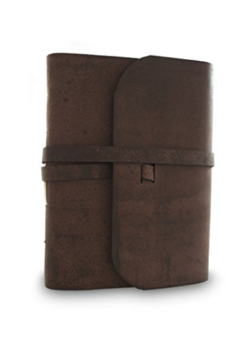 Everest Kitchen - Everest Explorer Leather Writing Journal with Handmade Vintage Lokta Paper, Made in the Himalayas of Nepal, 6.75 x 8.75 inches, Large