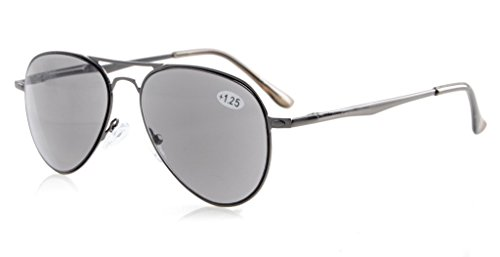 Eyekepper Readers Quality Spring Temples Pilot Style Reading Sunglasses Sun Readers Grey Lens - Tinted Sunglasses Grey