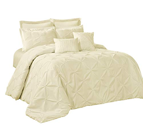Embroidery Patchwork Comforter Set - 8 Piece Lucilla Small Elastic Embroidery Solid Color Comforter Sets- (King, Ivory)
