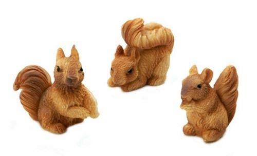 (Miniature Squirrel Resin Animals 3 PC Set Accessories Figurines Dollhouse DIY)