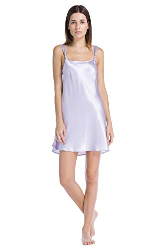 Look Chemise - Fishers Finery Women's 100% Pure Mulberry Silk Chemise; Nightgown (Lavender, M)