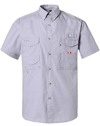 Alimens & Gentle Short Sleeve Wicking Fabric Sun Protection Fishing Casual Shirts - Color: Grey, Size: 4XL