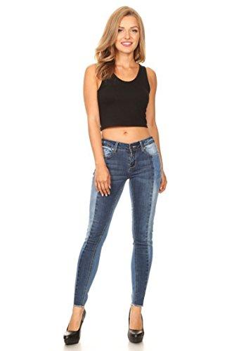 Vialumi Women's Split Color Skinny Jeans w Frayed Hem Medium Blue 3