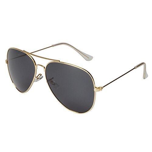 Plain Lens (FSK Polarized Aviator Sunglasses for Men and Women 62mm (Gold frame, Gray plain lens))