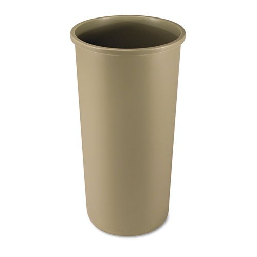 Rubbermaid 354600BG Untouchable Waste Container, Round, Plastic, 22gal, Beige