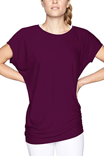 Duppoly Dolman Tops Batwing Short Sleeve Blouse T Shirts Workout Clothes Active Tops for Women Ladies Purple XL