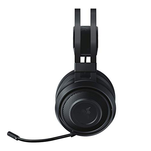 - Razer Nari Essential Wireless 7.1 Surround Sound Gaming Headset: THX Spatial Audio - Auto-Adjust Headband & Swivel Cups - Auto-Adjust - Flip Mic - for PC, PS4, Xbox One
